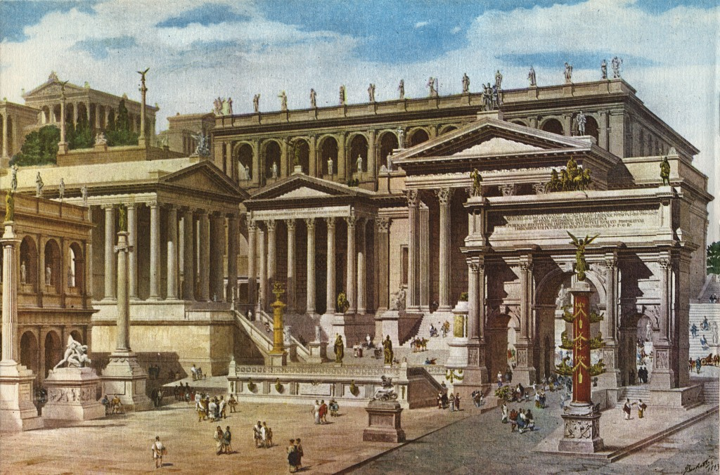 Roman Forum. The reconstruction of the 19th century. Painter Becchetti. Watercolour.