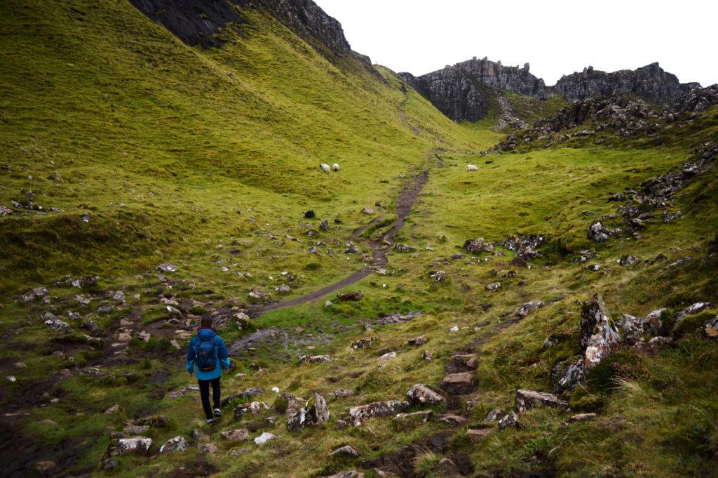 rochers, verdures, moutons sur le sentier de randonnée