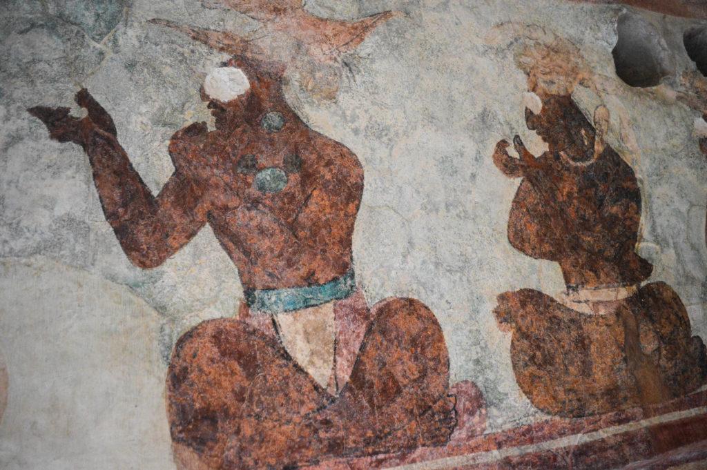 peintures de mayas assis à bonampak, chiapas, mexique