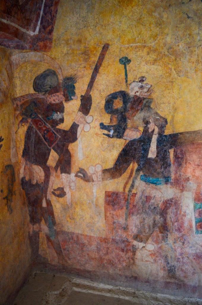 peinture colorée maya à bonampak, chiapas