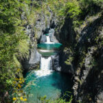 point de vue siete tazas, plusieurs cascades et bassins d'eau turquoise